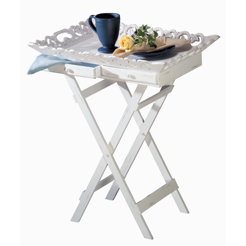 Breakfast Tray Table, Elegant White Serving Tv Coffee Portable Bed Tray Stand