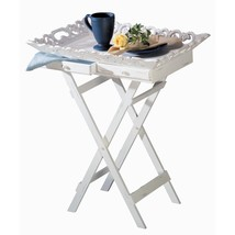 Breakfast Tray Table, Elegant White Serving Tv Coffee Portable Bed Tray Stand - $60.79