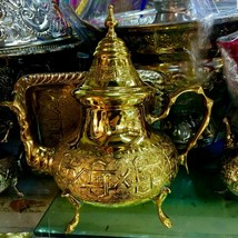 Moroccan Handmade Gold Silverplated Teapot X Large Size*NEW* - $84.15
