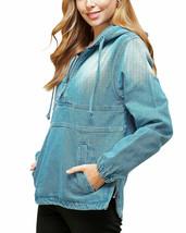 Women's Cotton Casual Hoodie Half Zip Pullover Denim Light Blue Jean Jacket XL image 1