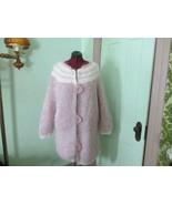 Vintage Hand knit Fuzzy Mohair Wool Cardigan Long Pastel Polk a dot Swea... - $100.00