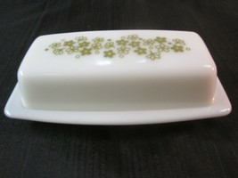 Vintage Pyrex Covered Butter Dish Spring Blossom Crazy Daisy Green Milk ... - $23.99