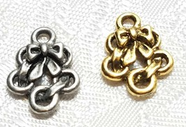 FIVE GOLDEN RINGS FINE PEWTER PENDANT CHARM image 1
