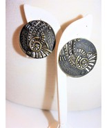 Abstract Large Round Brass Color Pierced Vintage Earrings - $17.99