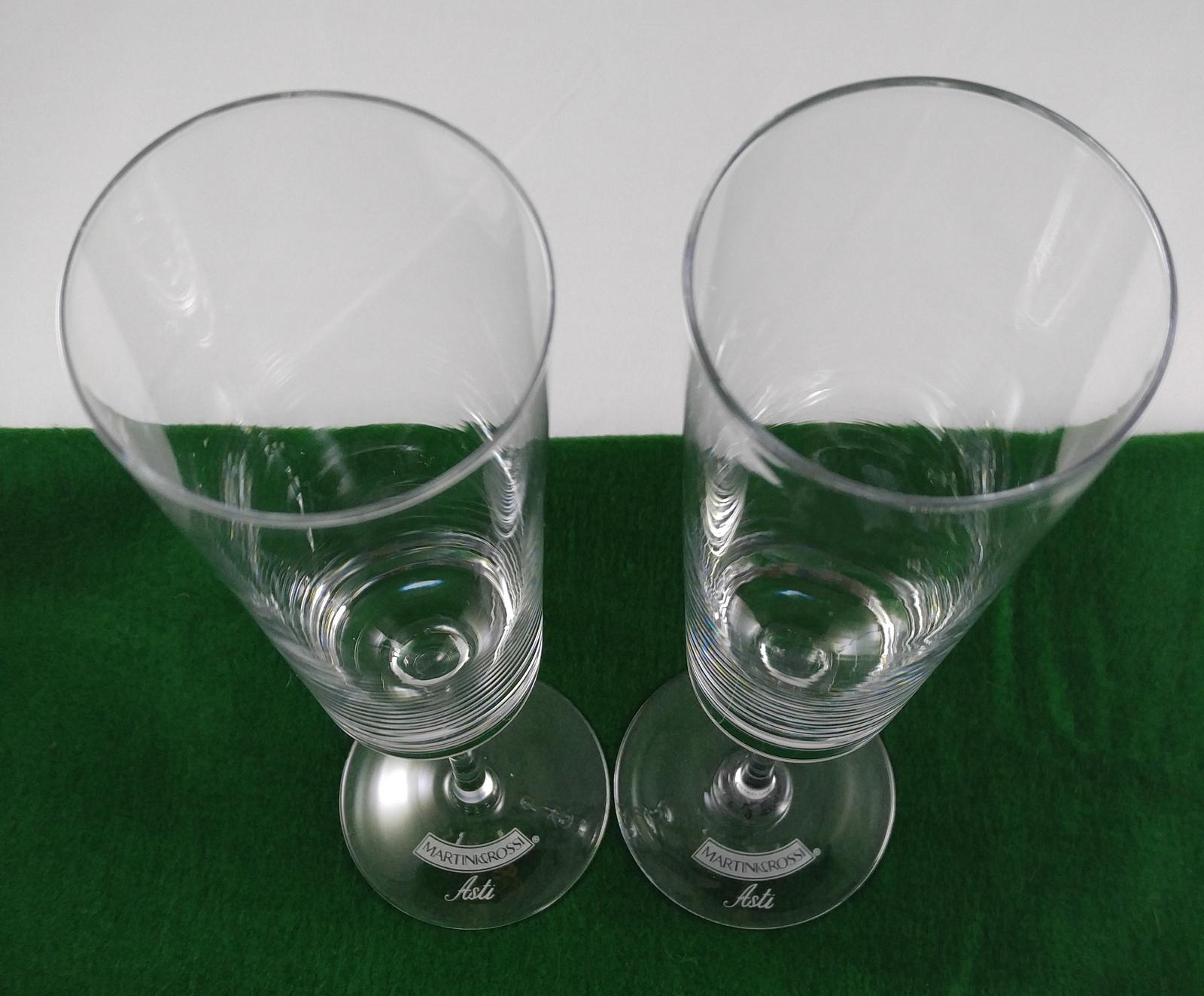 Martini & Rossi Asti Sparkling Wine Champagne Flutes Handblown Glass Barware