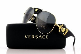 Men Pilot Aviator Crystal Gold/Black Unisex Authentic Italy Versace Sunglasses - $185.84