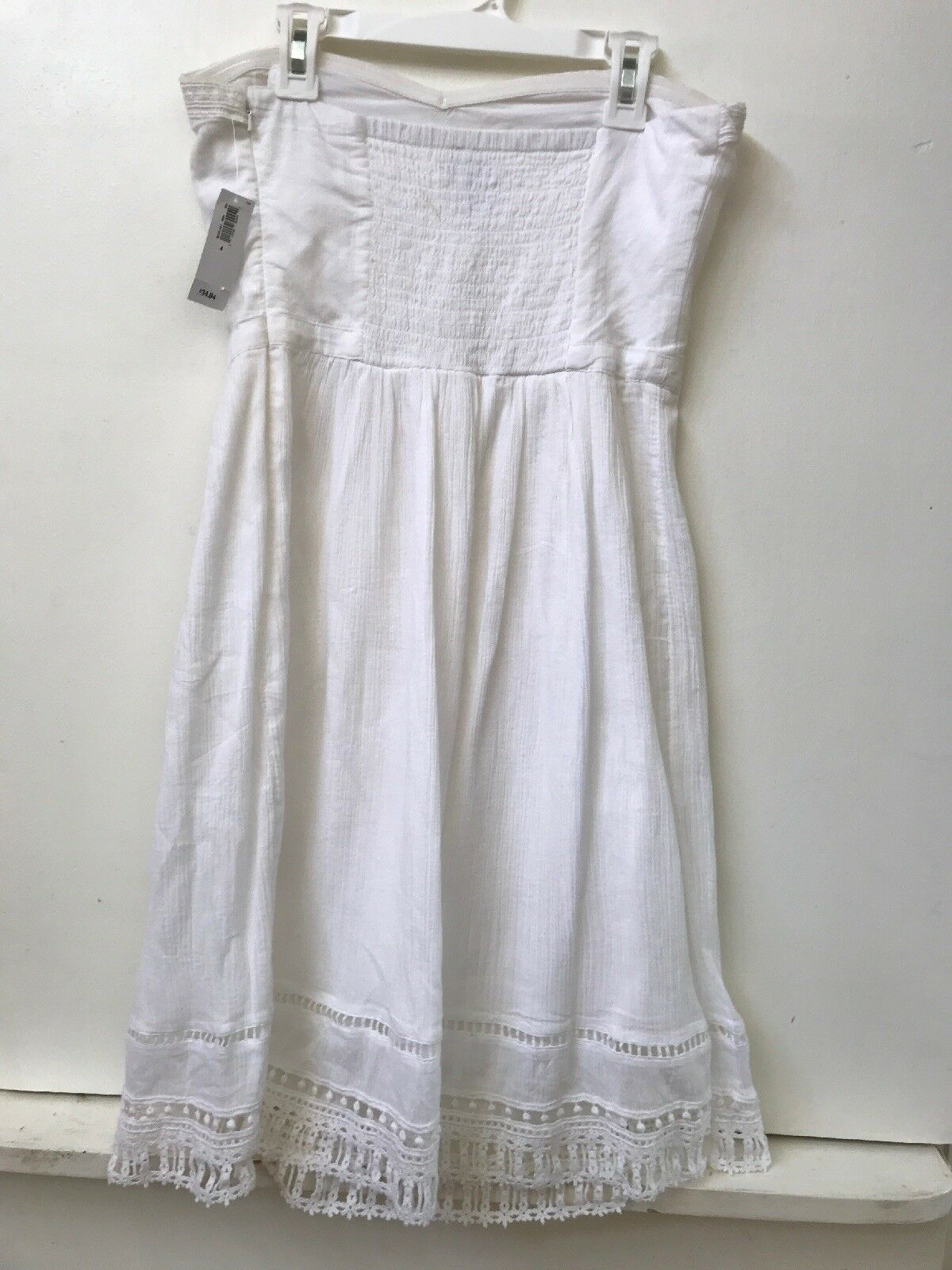 Old Navy White 100% Cotton Side Zip Lined Strapless Dress Size 4 NWT New