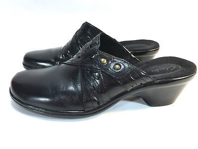 CLARKS glossy black leather slip on open heel comfort casual clogs 8.5 FREE SHIP