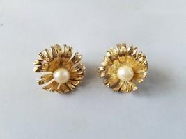 M Jent Vintage Signed Earrings Fashion Jewelry Gold Tone Faux Pearl Pierced - $27.89
