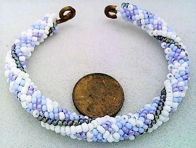 Winter colors bead crochet on copper bracelet