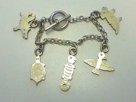 Avi Biran 5 Charm Bracelet Sterling Silver Bird Turtle Dog Gator Dog Lizzard - $90.25