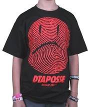 DTA Rogue Status Mens Black Red Fingerprint Frowning Smiley Face T-Shirt... - $14.24