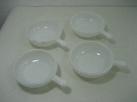 Vintage Set of Four (4) Milk Glass Cereal or Soup Bowls With Lug Handles - $32.68