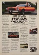 1975 Chevrolet Camaro Red Runs Leaner Runs Cleaner Print Ad - $9.99