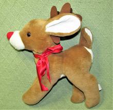 """VINTAGE ANIMAL FAIR REINDEER STUFFED ANIMAL RED NOSE 12"""" PLUSH TAN RED R... - $38.61"""
