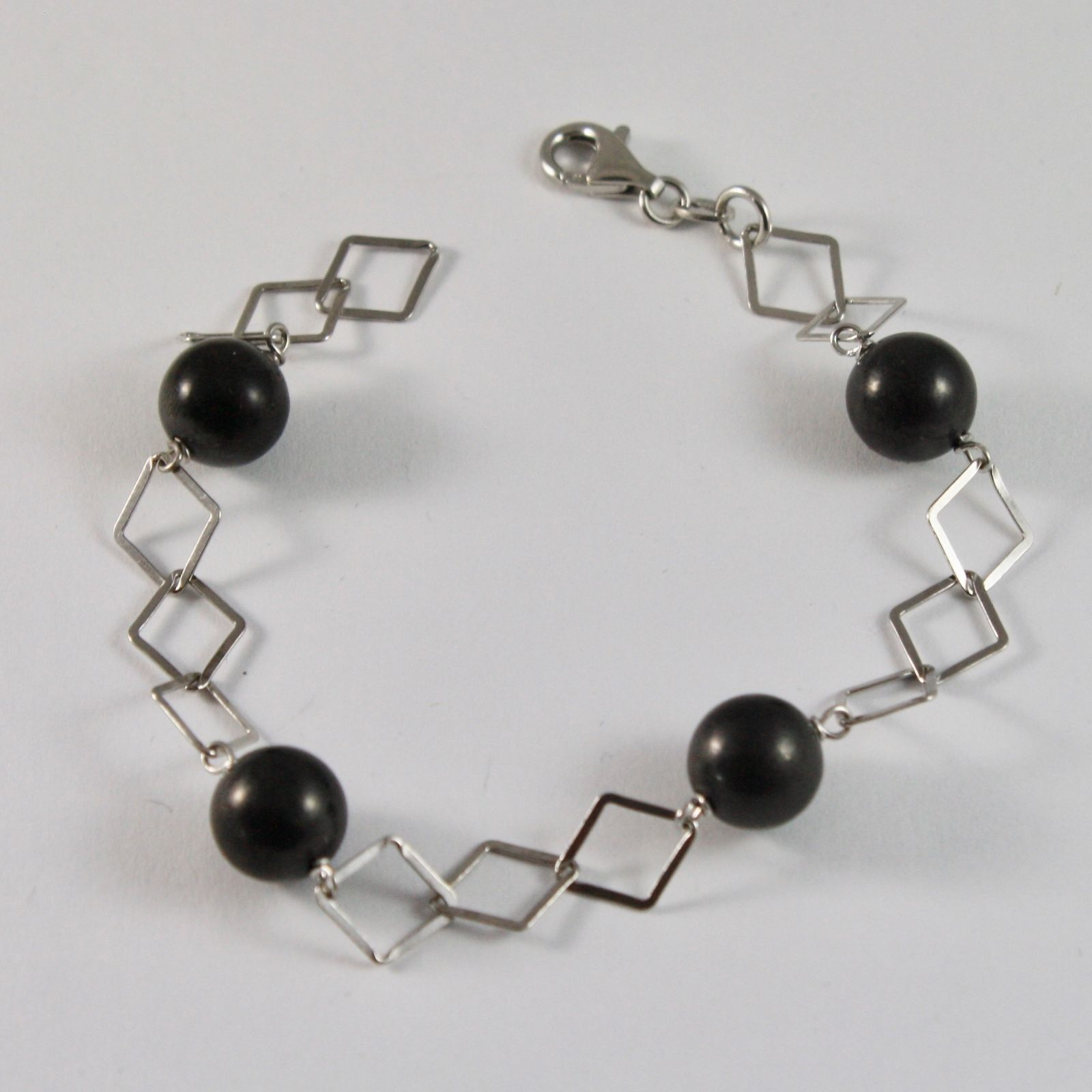 SILVER 925 BRACELET WITH SHUNGITE BLACK ROUND DIAMETER 10 MM LONG 20 CM