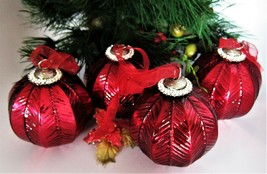 4x Ruby Red Rhinestones Mercury Glass Christmas Ornaments Vintage Kugel ... - $37.41
