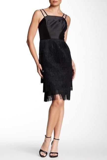 $575 soshanna women midnight vera fringe dress: size 10: black