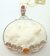 Sterling Carved Sea Turtle Pendant (#2692) - $470.25