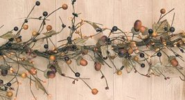 BCD Country Mix Acorn Garland Fall Colors Leaves Berries Pips Primitive Floral D image 9
