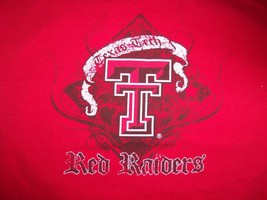 NCAA Texas Tech University Red Raiders Football Red Graphic Print T Shirt L - $17.71