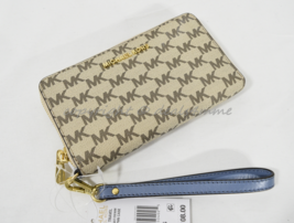 Michael Kors Jet Set Travel Multi-Function Phone Wallet/Wristlet Natural/Denim - $99.00