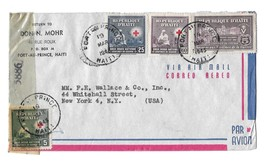 WWII Haiti Censor Airmail Cover Port au Prince US Multifranked 362 365 C... - $6.99