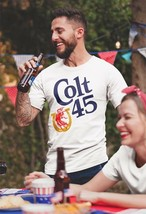 Colt 45 Malt Liquor T-shirt beer 100% cotton graphic retro 80's white tee image 2