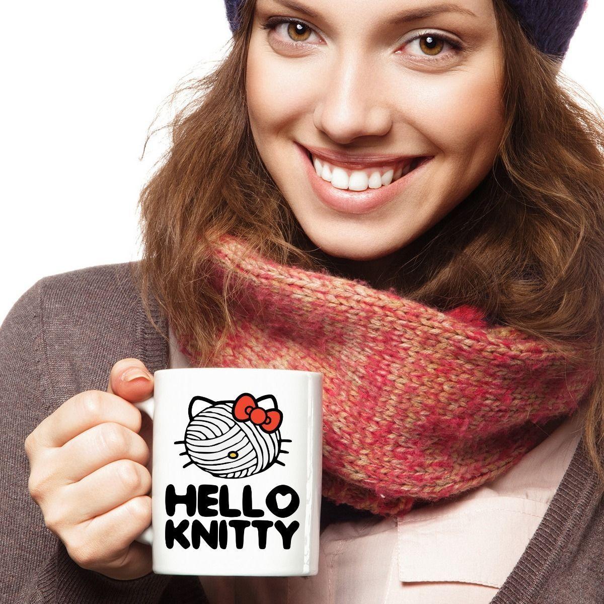 Knitting Mug Knitty Mothers Day Funny Cute Cat Kitty Face Yarn Mom Grandma Aunt