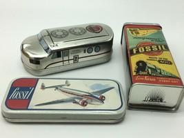 3 Vintage Fossil Watch Tins~Airlines~Locomotive~Railway~Empty - $23.64