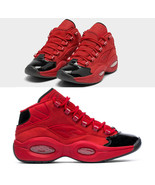 Reebok Men's Question Mid Black Scarlet Gold Metallic Red FW5304 Iverson... - $109.99