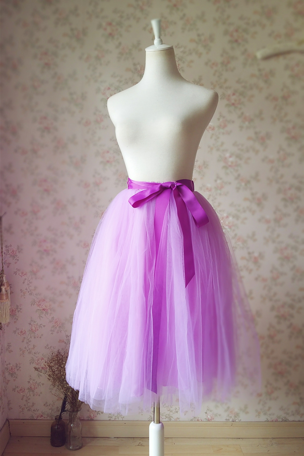 LIGHT PURPLE Tea Length Midi Skirt Elastic Waist Plus Size Princess Tulle Skirt