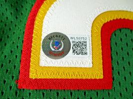 GARY PAYTON / AUTOGRAPHED SEATTLE SUPERSONICS GREEN CUSTOM JERSEY / BECKETT  image 5