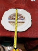 VINTAGE THE FIRST SUPPER PORCELAIN DECORATOR PLATE -RARE- GOLD TRIM image 4