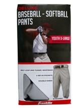 Franklin Sports Deluxe Youth Baseball Pants Gray Sz XL Belt Loops Pockets 28-30  - $14.39