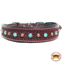 U-C110 Hilason Heavy Duty Genuine Leather Dog Collar Padded Brown Crystals - $27.95