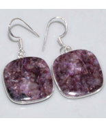 Beautiful Charoite Earrings, 925 Silver, One of a kind - $28.00