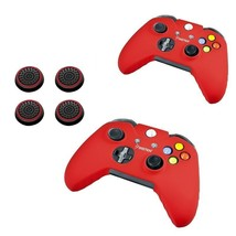 2x Red Silicone Skin Case + 4x Thumbstick Cap for Microsoft xBox One Con... - $26.00