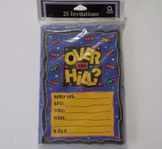 Over The Hill Birthday 25 Invitations & Envelopes Amscan 30 40 50 60  - $9.95