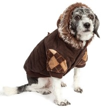 Pet Life Suede Fashion Pet Dog or Cat Coat Jacket Parka with Removable Hood - $27.94