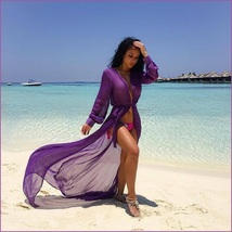 Sheer Chiffon Saroong Full Length Long Sleeve Beach Swimsuit Tie Belt Cover Up