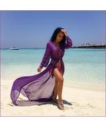 Sheer Chiffon Saroong Full Length Long Sleeve Beach Swimsuit Tie Belt Co... - $47.95