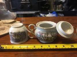 1977 CURRIER AND IVES THE OLD GRIST MILL CREAMER AND SUGAR BOWL AVON & 2... - $14.84