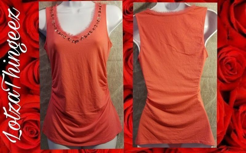 WHBM White House XS Beaded Bling Tank Top Coral Pink Stretchy Ruched Sides