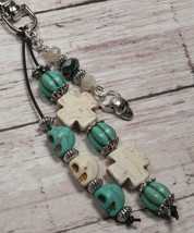 Skull Howlite Crystal Day of the Dead Beaded Keychain Purse Charm Turquoise - $14.54