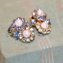 Vintage Trifari Clip  Earrings Faux Pearl PRONG SET  Rhinestone BLUE LT.GREEN image 2
