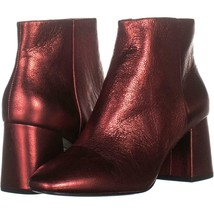 Ash Heroin Block Heel Ankle Boots 362, Red Leather, 7 US / 37 EU - $88.31