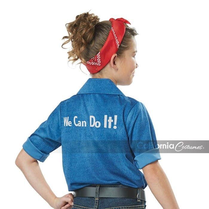 Californie Déguisement Rosie The Riveter WW2 Filles Enfant Halloween 00594