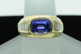 Custom made MAG 18K Yellow Gold Tanzanite and Diamond Baguette Ring (Siz... - $1,265.00