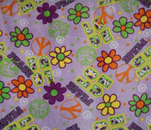 Purple Groovy Peace Fleece Fabric Anti Pill Print One Half Yard Full Polyester